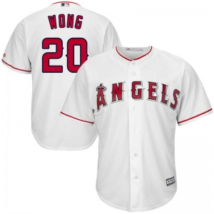 Youth Majestic Los Angeles Angels Kean Wong White Cool Base Home Jersey - Replica