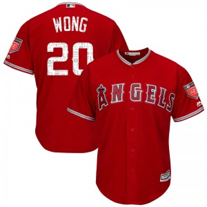 Youth Majestic Los Angeles Angels Kean Wong Scarlet Cool Base 2018 Spring Training Jersey - Replica
