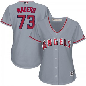Women's Majestic Los Angeles Angels Luis Madero Gray Cool Base Road Jersey - Replica