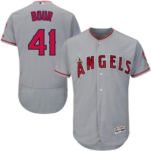 Youth Majestic Los Angeles Angels Justin Bour Gray Flex Base Road Collection Jersey - Authentic