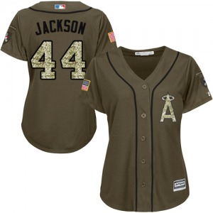 Women's Majestic Los Angeles Angels Reggie Jackson Green Salute to Service Jersey - Authentic