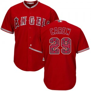 Men's Majestic Los Angeles Angels Rod Carew Red Team Logo Fashion Cool Base Jersey - Authentic