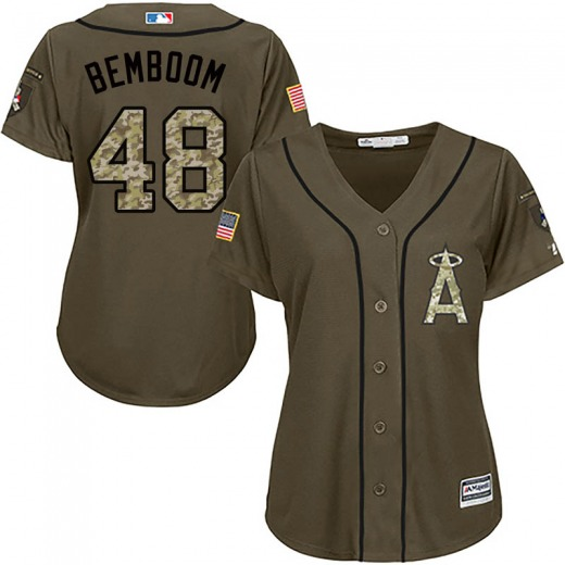 Women's Majestic Los Angeles Angels Anthony Bemboom Green Salute to Service Jersey - Authentic