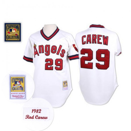 Men's Mitchell and Ness Los Angeles Angels Rod Carew White Throwback Jersey - Replica